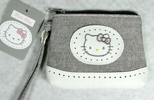 Porte monnaie Hello Kitty avec sangle gris et blanc simili cuir