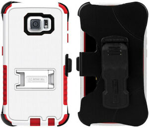 WHITE RED TRI-SHIELD HARD CASE + BELT CLIP HOLSTER STAND FOR SAMSUNG GALAXY S6