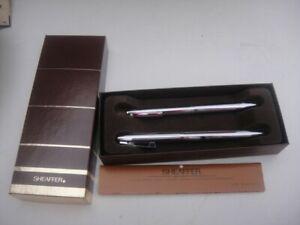 1974 VTG Sheaffer's White Dot Chrome Ballpoint Pen Mechanical Pencil Set MIB