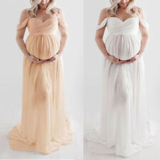 Women Maternity Pregnant Dress Off-Shoulder Photography Ruffle Sexy Long Dress