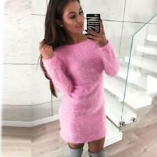 Women Spring Winter Long Sleeve Knitted Sweater Fleece Warm Short Mini Dress Top