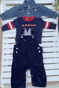 Tommy Hilfiger 3 Pc Infant 3-6 Mo EUC Lot Of 3 Pcs Denim Jacket Cord Overalls