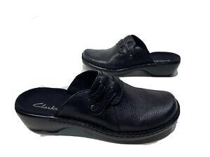 NiB CLARKS Women's Size 10 M Mules Clogs Black Flats Leather Shoes Fast Ship