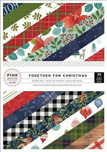 Christmas Paper Pad 6x8 Pink Paislee Single Sided 36 Card Stock American Crafts