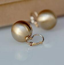 Boucles d'Oreilles Dormeuse Doré Gros Perle Metal Simple Récuré Class Retro D6