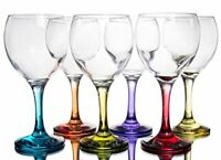 Multi Colored Red & White Wine Color Goblets Multicolor Glasses, 12 oz, Set of 6