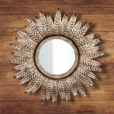 Large Distressed Feathered Mirror Wall Hanging Home Decor Bronze Silver Vintage