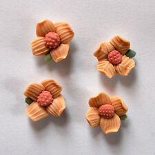 VINTAGE 4 CERAMIC FLOWER FLORAL FLOWERS PINK ART CRAFT CAKE DECORATIONS 18mm