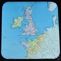 JV Glass Magic Lantern Slide MAP OF PLANTAGENET POSSESSION C1900 ENGLISH HISTORY