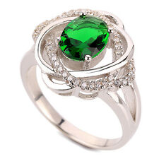 Elegant Engagement Silver Emerald Green Ring small medium size M / O 6/7 FR166