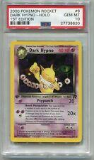 Pokemon Card 1st Edition Dark Hypno Holo Team Rocket Set 9/82, PSA 10 Gem Mint