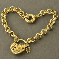 Arab Fashion 9k Gold Plated Womens Hollow Heart Chain Link Bracelet 8.7'' Z4267