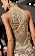 980 Ralph Lauren Couture Embellished Beaded Gold Dress Size US 6 UK 10 I 42