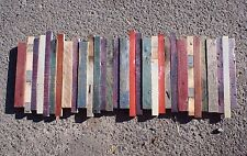 Reclaimed Wood Sculpture Wall Art Rustic Country 35x13 red blue green purple