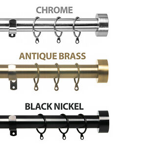 Extendable Metal Curtain Pole. Includes Rings, Flat Finials & Fittings. 28mm