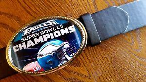 PHILADELPHIA EAGLES SUPER BOWL LIl CHAMPIONS - Epoxy Photo Buckle & Black Belt