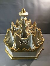 HUGE Antique Gothic Pediment Architectural Crown Gilt White Wood Carved Finial