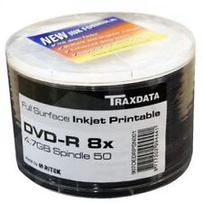 50 xRitek (Traxdata) Blank DVD-R Surface Full Inkjet Printable Disc 8x 4.7GB New