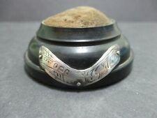 EBONY HAT PIN / PIN CUSHION WITH SILVER TRIM - LONDON 1901