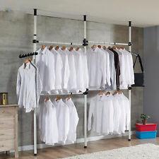 Heavy Duty Movable Garment Rack DIY Coat Hanger Clothes Wardrobe 3 Poles 4 Bars
