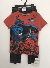 M&S BOYS BATMAN PYJAMAS KIDS PJ'S AGE 4-5 Yrs Short Sleeve Top Long Bottom Set