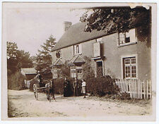 Man Riding a Horse in Cart in a Village Street - Antique Photograph c1900