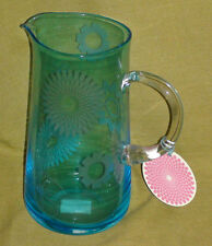 Portmeirion Blue Glass Water Jug - Crazy Daisy design