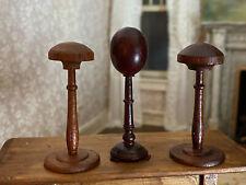 Vintage Miniature Dollhouse 1:12 Trio Wooden Counter Display Hat Stands Elegant