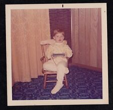 Vintage Photograph Cute Little Boy Sitting in Small Rocking Chair in Living Room