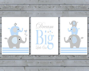 Baby Boy / 3 Wall Art Nursery Prints / Dream Big Little One / Elephant Stacks
