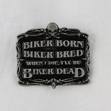 Biker Chopper Skull Born Bread Dead Totenkopf Knochen Pin Anstecker Anstecknadel