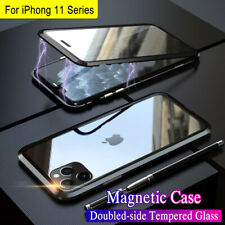 360° Magnetic Metal Case For iPhone 11 Pro Max Double-sided Tempered Glass Cover
