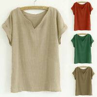 Women Casual Cotton And Linen Solid V-Neck Short Sleeve Loose Top Blouse T-Shirt
