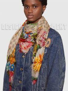 "GUCCI beige INVITE Logo JOSEPHINE Floral 47"" SHAWL modal Pashmina scarf NWT Auth"