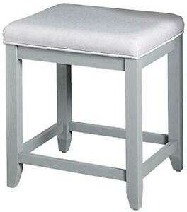 Crosley Vista Cushioned Seat Vanity Stool - Linen Vintage/Dove Gray - GallyHo