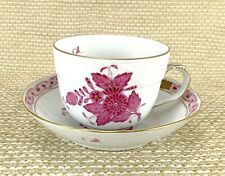 HEREND PORCELAIN CHINESE BOUQUET RASPBERRY MOCHA CUP AND SAUCER 1728/AP Apponyi