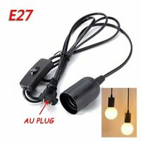 1.8M E27 Hanging Lamp Light Cable Cord Bulb Holder Socket Base With Switch Black