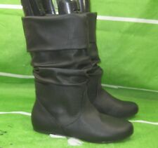 NEW LADIES Womens Black Flat Round Toe  Sexy Mid-Calf Boot Size  9