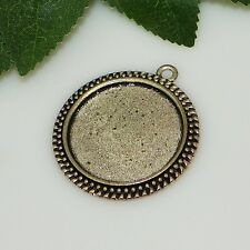 30mm Round Antique Silver Plated Cabochon (Cab) Drop Setting (#F302)