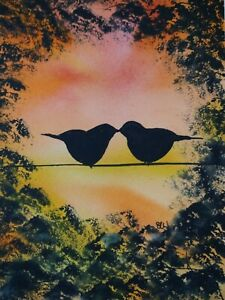 Original watercolour painting. Sunset love birds.