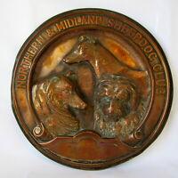 VICTORIAN High Relief COPPER TROPHY PLAQUE * 'NORTHERN & MIDLAND SHEEPDOG CLUB'