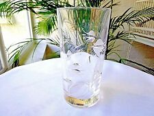 Set of 2 Royal Crystal Rock Tulipano Pattern Clear Highball Glasses Signed