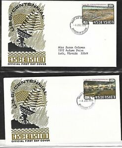 ASCENSION 1976 2 FIRST DAY COVERS, US BASE, SPACE RELATED AMERICAN BICENTENNIAL