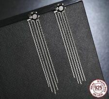 2 in 1 100% black CZ 925 Silver Vintage Tassels Drop Earrings Holidays gift