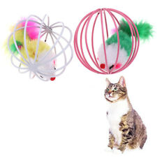Cat Toy Irons Cage Mouse Feather Plush Mouse Cat Toy Interactive Cat Pet Anim Ph