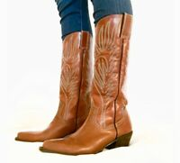 Steve Madden Lone Star Western Cowgirl Boots Leather Cowboy Brown Womens Sz 7