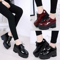 Women's Chunky Casual Patent Leather Platform Lace Up Shiny Shoes Oxfords Size