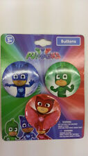 ENTERTAINMENT ONE PJ MASKS 3 PIECES BUTTON PINS WITH 3 CHARACTERS ORIGINAL L@@K