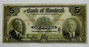 1923 Bank Of Montreal $5 Lower Canada $5 Note - Ch. 505-56-02