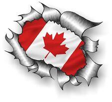 CLASSIC Ripped Open Torn Metal Rip & Canada Canadian Flag Vinyl Car sticker